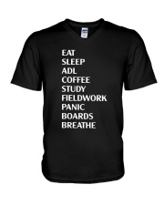 Eat Sleep Adl Coffee Study Fieldwork Panic Shirt V-Neck T-Shirt thumbnail
