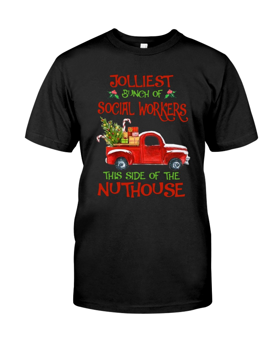 Christmas Jolliest Bunch Of Social Workers Shirt Classic T-Shirt