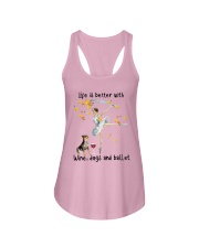 Life Is Better With Wine Dogs And Ballet Shirt Ladies Flowy Tank thumbnail