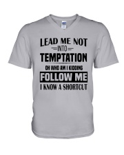 Lead Me Not Into Temptation Oh Who I Kidding Shirt V-Neck T-Shirt thumbnail