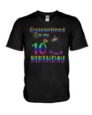 Unicorn Quarantined On My 10th Birthday Shirt V-Neck T-Shirt thumbnail