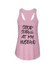 Stop Staring At My Husband Shirt Ladies Flowy Tank thumbnail