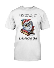 Owl That's What I Do I Read Books Coffee Shirt Classic T-Shirt front