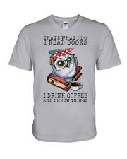 Owl That's What I Do I Read Books Coffee Shirt V-Neck T-Shirt thumbnail