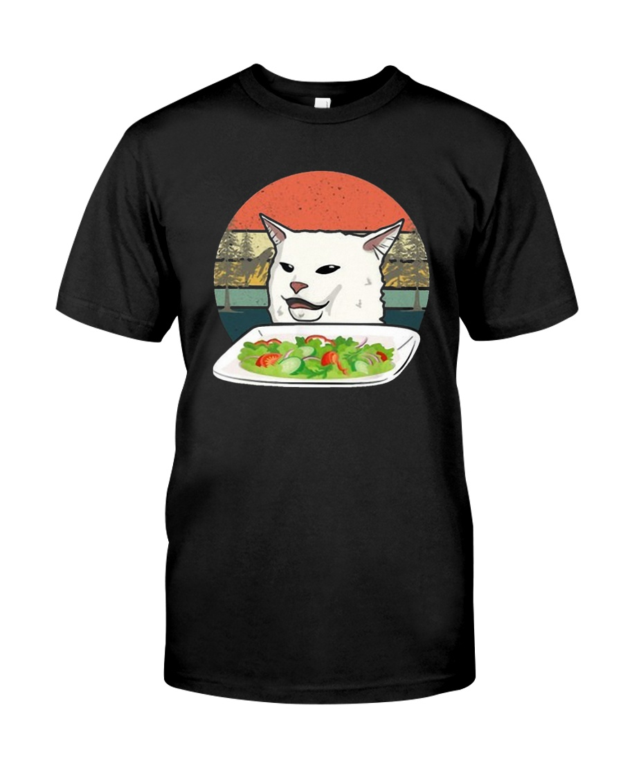 Vintage Retro Woman Yelling At Table Dinner Shirt Classic T-Shirt