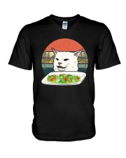 Vintage Retro Woman Yelling At Table Dinner Shirt V-Neck T-Shirt thumbnail