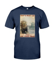 Cat Thats What I Do I Fly And I Know Things Shirt Classic T-Shirt tile