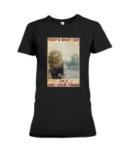 Cat Thats What I Do I Fly And I Know Things Shirt Premium Fit Ladies Tee thumbnail