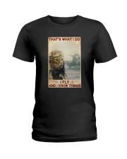 Cat Thats What I Do I Fly And I Know Things Shirt Ladies T-Shirt thumbnail