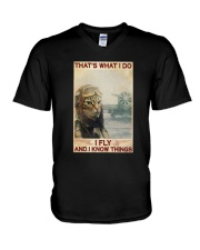 Cat Thats What I Do I Fly And I Know Things Shirt V-Neck T-Shirt thumbnail