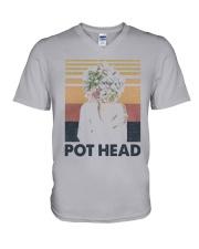 Vintage Girl Pot Head Shirt V-Neck T-Shirt thumbnail