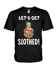 Sloth Drunken Let's Get Slothed Shirt V-Neck T-Shirt thumbnail