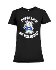 Cat Depressed But Well Dressed Shirt Premium Fit Ladies Tee thumbnail