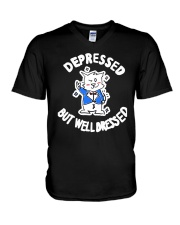 Cat Depressed But Well Dressed Shirt V-Neck T-Shirt thumbnail