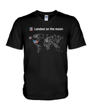 American Flag Landed On The Moon Shirt V-Neck T-Shirt thumbnail