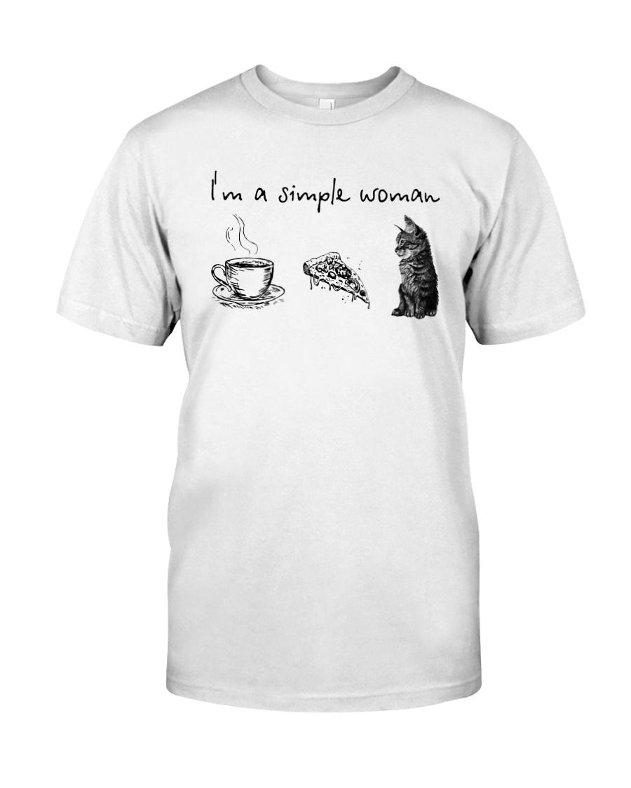 I'm A Simple Woman Tea Pizza Cat Shirt Classic T-Shirt