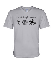 I'm A Simple Woman Like Wine Dog Horse Shirt V-Neck T-Shirt thumbnail