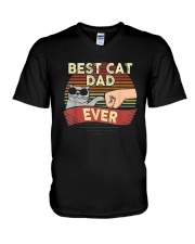 Vintage Best Cat Dad Ever Shirt V-Neck T-Shirt thumbnail