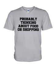 Probably Thinking About Food Or Shopping Shirt V-Neck T-Shirt tile