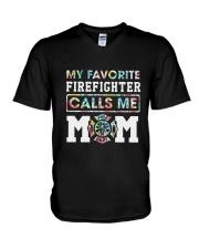 Floral My Favorite Firefighter Calls Me Mom Shirt V-Neck T-Shirt thumbnail