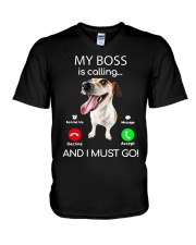 Russell Terrier My Boss Is Calling And I Shirt V-Neck T-Shirt thumbnail