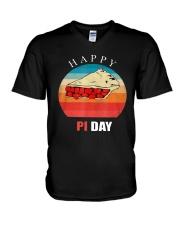 Vintage Cherry Pie Happy Pi Day Shirt V-Neck T-Shirt thumbnail