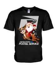 Santa Riding Deer United States Postal Shirt V-Neck T-Shirt thumbnail