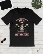 Underestimate A Nurse Rides A Motorcycle Shirt Classic T-Shirt lifestyle-mens-crewneck-front-17