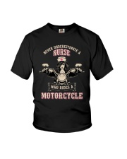 Underestimate A Nurse Rides A Motorcycle Shirt Youth T-Shirt thumbnail
