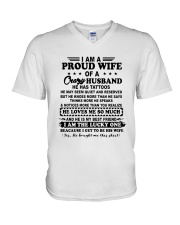 I Am A Proud Wife Of A Crazy Husband Shirt V-Neck T-Shirt thumbnail