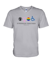 Black Woman Lgbt Stronger Together Shirt V-Neck T-Shirt thumbnail