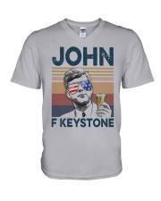 Vintage Drinking Beer John F Keystone Shirt V-Neck T-Shirt thumbnail