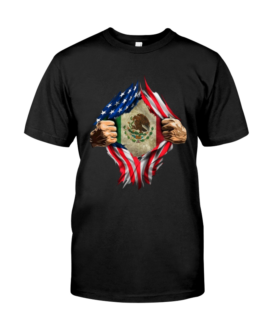 Inside Me Mexican And American Flag Shirt Classic T-Shirt