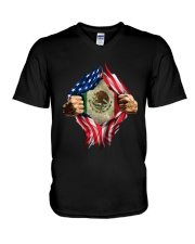 Inside Me Mexican And American Flag Shirt V-Neck T-Shirt thumbnail