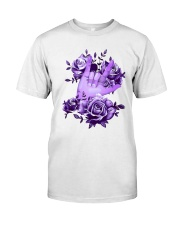 Rock N Roll Sign Language Purple Roses Shirt Classic T-Shirt front