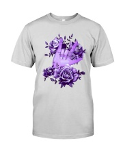 Rock N Roll Sign Language Purple Roses Shirt Premium Fit Mens Tee thumbnail