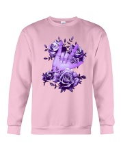 Rock N Roll Sign Language Purple Roses Shirt Crewneck Sweatshirt thumbnail