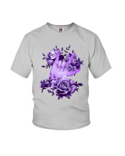 Rock N Roll Sign Language Purple Roses Shirt Youth T-Shirt thumbnail