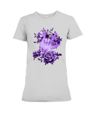 Rock N Roll Sign Language Purple Roses Shirt Premium Fit Ladies Tee thumbnail