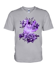 Rock N Roll Sign Language Purple Roses Shirt V-Neck T-Shirt thumbnail