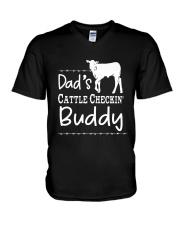 Cow Dad's Cattle Checkin' Buddy Shirt V-Neck T-Shirt thumbnail