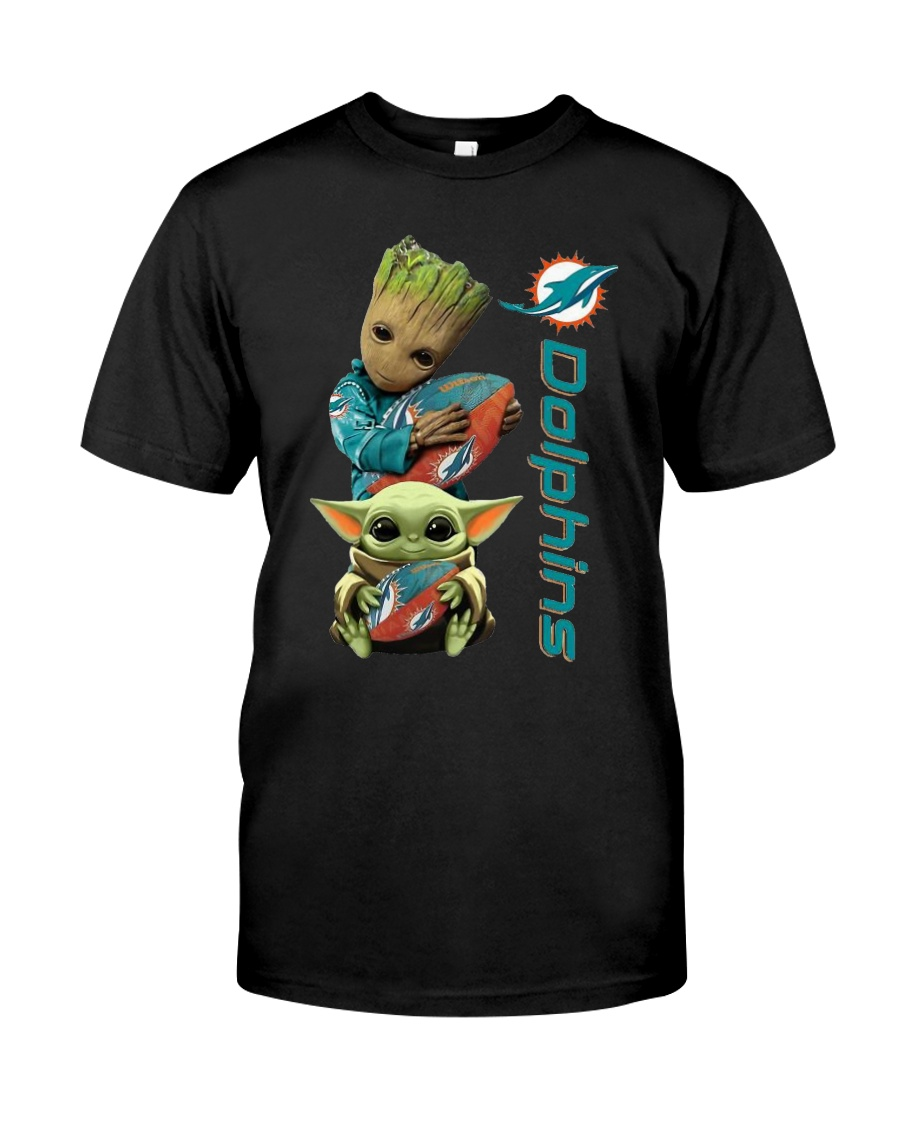 Baby Yoda And Groot Miami Dolphins Shirt