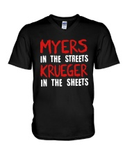 Myers In The Streets Krueger In The Sheets Shirt V-Neck T-Shirt thumbnail