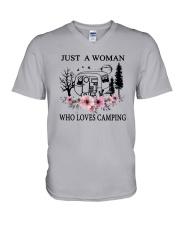 Flower Just A Woman Who Loves Camping Shirt V-Neck T-Shirt thumbnail