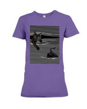Cats Loves In Striped Shirt Premium Fit Ladies Tee thumbnail