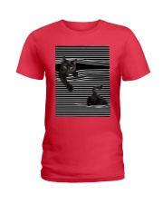 Cats Loves In Striped Shirt Ladies T-Shirt thumbnail