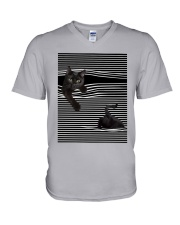 Cats Loves In Striped Shirt V-Neck T-Shirt thumbnail