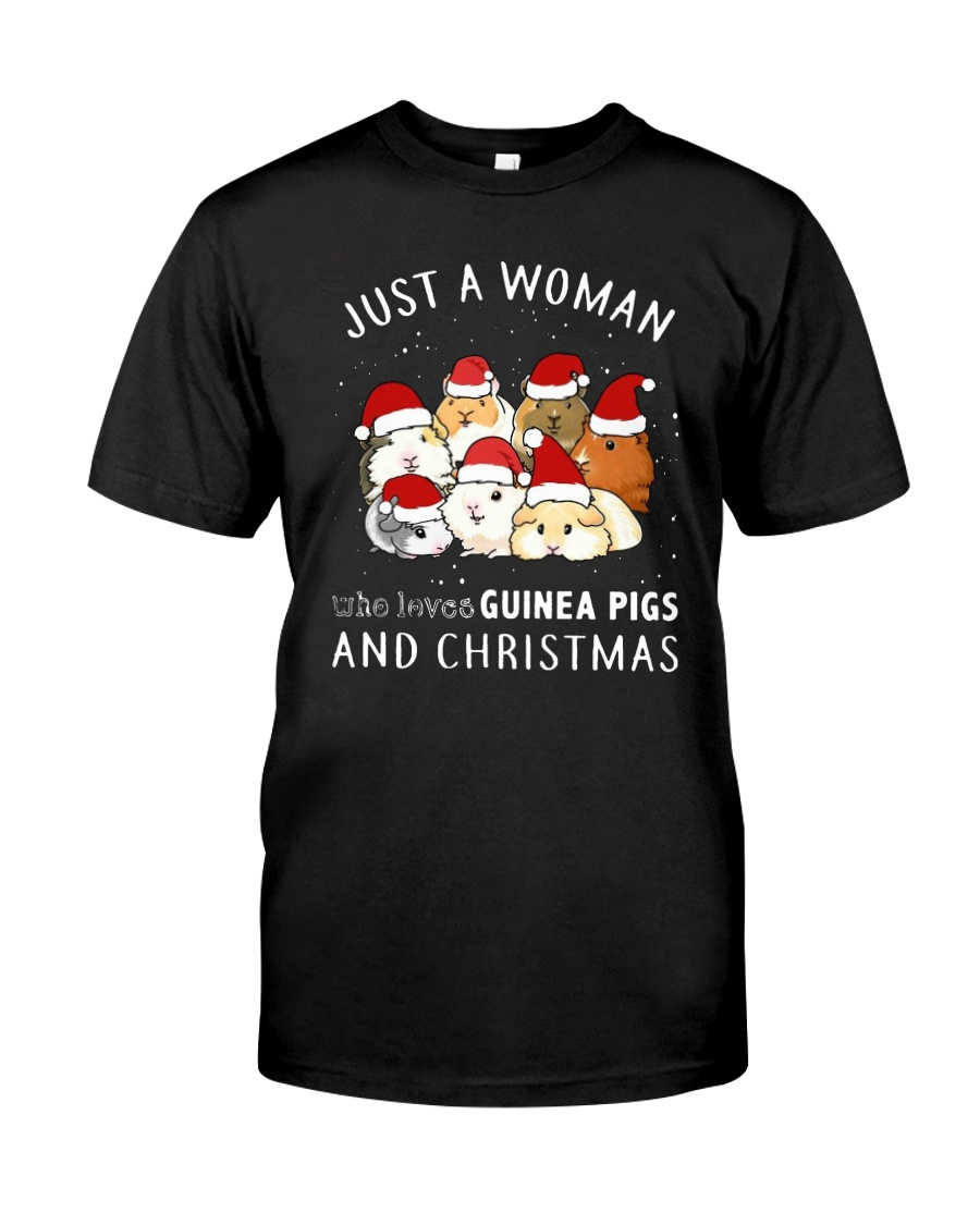 Just A Woman Who Loves Guinea Pigs Christmas Shirt Premium Fit Mens Tee