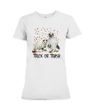Halloween Racoon Ghost Trick Or Trash Shirt Premium Fit Ladies Tee thumbnail