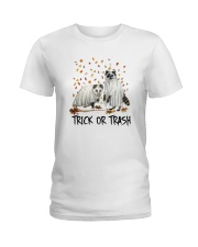 Halloween Racoon Ghost Trick Or Trash Shirt Ladies T-Shirt thumbnail